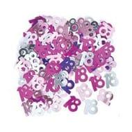 Pink Glitz Confetti Sequins Table Decoration Milestone Age - 18