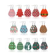 14 Pairs Leather Christmas Earrings