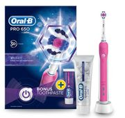 Oral-B Pro 650 Pink Electric Toothbrush and Toothpaste 75ml