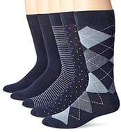 Amazon Essentials Men's 5-Pack Patterned Dress Socks, Pack of 5