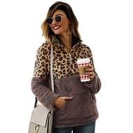 Women Sweatshirts Leopard Patchwork Long Sleeve Front Zipper Pullover Plush