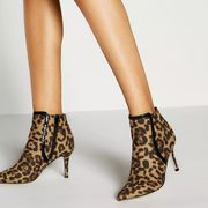 Faith - Multicoloured Leopard Print Stiletto Heel Ankle Boots