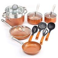 SHINEURI Nonstick Ceramic Copper Cookware Set Aluminum Pots and Frying Pans