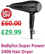 1/2 PRICE at AMAZON! BaByliss Super Power 2400 Hair Dryer **4.4 STARS**