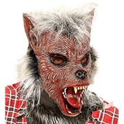 Half Face with Hair Wolf Man Mask, Red, One Size - Halloween - Amazon Add-On