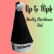 BAH HUMBUG Novelty Black Santa Christmas Xmas Adult Party Hat Office Fancy Dress