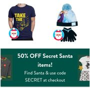Get 50% off Any Product tagged with Our Secret Santa Icon.