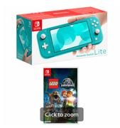 NINTENDO SWITCH LITE TURQUOISE with LEGO JURASSIC WORLD Only £209