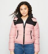 Girls Pink Block Color Puffer Jacket