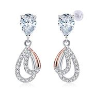Water Droplet Earrings 925 Sterling Silver Crystal 5A Cubic Zirconia Jewellery