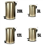 Stainless Steel Pedal Bin Champagne Gold Kitchen Bathroom Toilet Home 3 5 12 20L