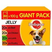 80 X 100g Pedigree Adult Wet Dog Food Pouches Mixed Selection in Jelly