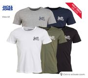 JACK and JONES Mens Five Pack Chest Print T-Shirts
