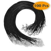 Selizo 100Pcs Necklace Cord for Jewelry Making, Black Waxed Necklace Cord