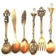 Masterein 6pcs Retro Tablewear Fork Alloy Spoon FREE DELIVERY