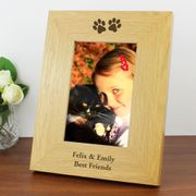 Personalised Oak Finish Paw Prints Photo Frame (4 X 6)