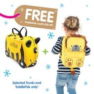 Trunki Bernard Bee Ride on Case (Includes Free Leeroy Toddlepak Backpack)