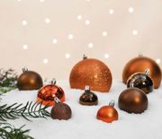 12 X 60mm Chocolate Assorted Finish Christmas Shatterproof Baubles 87p