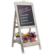 Decorative Vintage White Washed Brown Wood Large Freestanding Chalkboard