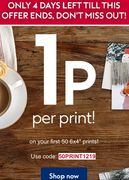 1p per Print on Your First 50 6inchx4inch Prints