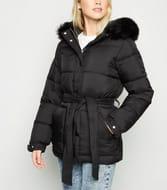 Black Belted Puffer Jacket