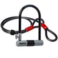 AmazonBasics D-Lock Bike Lock, with 4 Foot Flex Cable