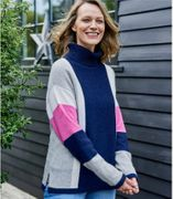 Womens Lambswool Side Colour Block Polo Jumper in Navy/Pink Rouge