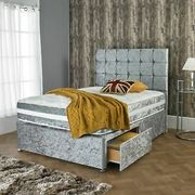 """Crushed Velvet Divan Bed with Matching Mattress and 20"""" Headboard"""