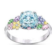 Women Exquisite Artificial Gem Wedding Engagement Ring Jewelry Gift Belt Buckles