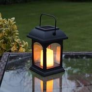 Garden Candle Lantern - Solar Powered - Flickering Effect - Amber LED