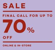 Last Chance up to 70% Off!