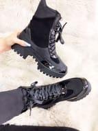 Bradford Black Faux Suedette Croc Print Biker Boots