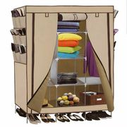 Portable Closet Storage Organizer Clothes Wardrobe Shoe Rail Rack Shelves Beige