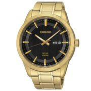 *HALF PRICE* Seiko Men's Solar Gold Plated Bracelet Watch +10% off at Checkout