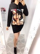 Bridgy Picture Print Long Hooded Sweatshirt