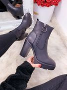 Briella Black Faux Leather Ring Zip Detail Heel Boots