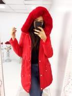 Angelika Red Faux Fur Reversible Hooded Coat