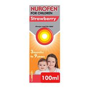Nurofen for Children Medicine Strawberry Ibuprofen, 100 Mg 100 Ml