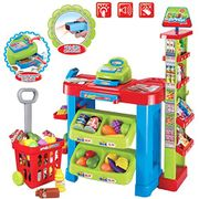 Kids Supermarket Stall Toy Shopping Trolley, 30 Play Food Accessories Included
