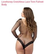 Love Honey Crotchless Lace Trim Fishnet Body Was £16.99, Now £5.10 !!