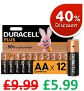 SAVE £4 at AMAZON - Duracell plus AA Alkaline Batteries, Pack of 12