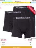 Lambretta Mens Three Pack Boxers Black - Save £10!