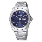 Lorus Classic Blue Dial Stainless Steel Bracelet Gents Watch with Day & Date