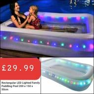 Rectangular LED Lighted Family Paddling Pool 200 X 150 X 50cm.