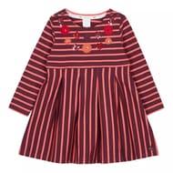 J by Jasper Conran - Girls' Red Striped Flower Applique Cotton Dress