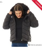 Womens Kylie Chevron Panel Padded Jacket with Faux Fur Hood Black/Black