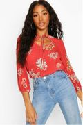 BOOHOO Floral Tie Front Blouse