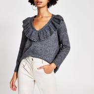 Grey Frill v Neck Knitted Jumper