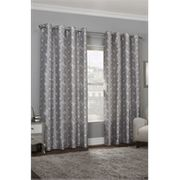 Faux Fur Geo Grey Lined Eyelet Curtains 117cm X 137cm - Reserve & Pay in Store