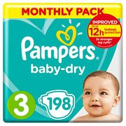 Cheap Pampers Baby-Dry Size 3, 198 Nappies, 6-10kg - Save £12!